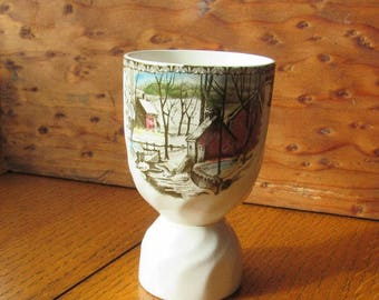 Double Egg Cup The Friendly Village China Pattern Johnson Bros England