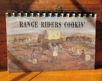 Range Riders Cookin' Cook Book By Bob Kerby's Longhorn Studio Vintage 1989 With Artists Work, Spiral Bound