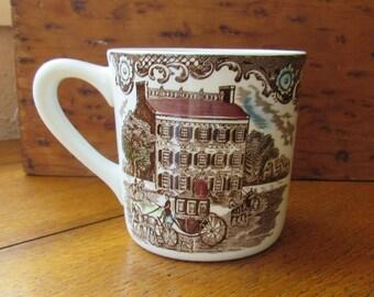 Heritage Hall Mug Vintage Johnson Bros China Made In England Brown Multicolor Transferware Farmhouse Dining