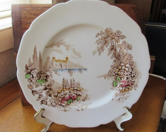 Castle On The Lake Dinner Plate Vintage Johnson Bros Scenic China Brown Multi-Color Transfer, Farmhouse Dining