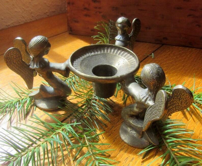 Vintage Bronze Praying Angel Candlestick Holder Three Kneeling image 0