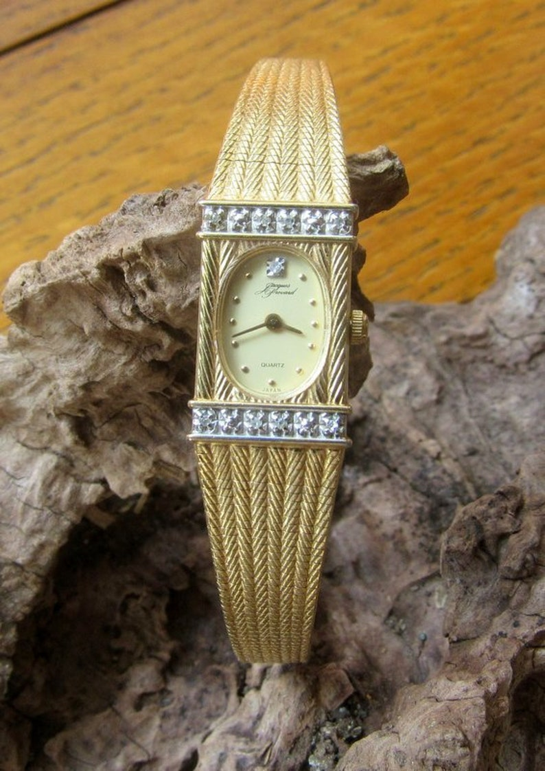 Ladies Elgin Diamond Jacques Prevard Quartz Watch Vintage image 0