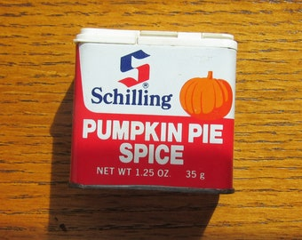 Pumpkin Pie Spice Vintage Schilling Tin With Squash Graphic Full 1.25 Ounce McCormick 1977 Made In USA