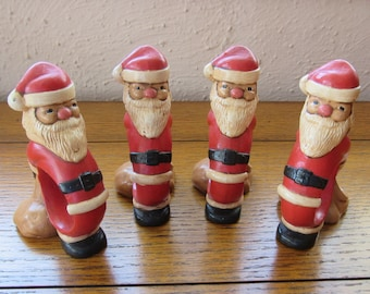 Four Santa Napkin Rings Vintage Ceramic Tableware For Christmas Holiday Dining And Display