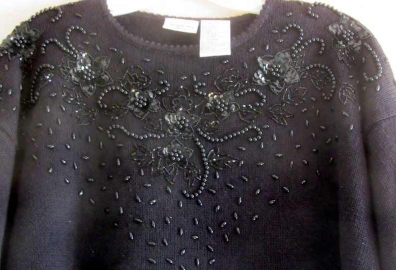 Black Beaded and Sequined Sweater Vintage Jaclyn Smith image 0