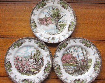 The Friendly Village Johnson Bros 50th Anniversary, 3 Canape Plates, Each A Different Scene, Vintage Limited Edition 5000