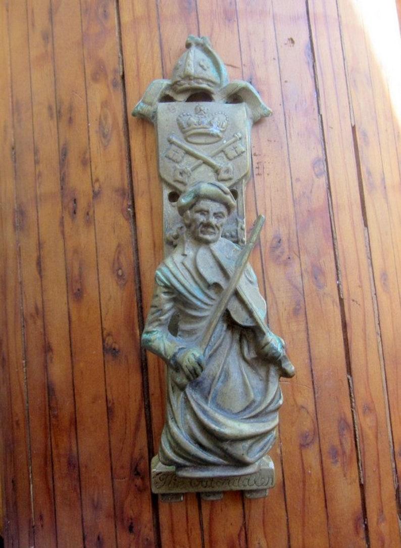 Antique Door Knocker The Old Fiddler Vintage Victorian Home image 0