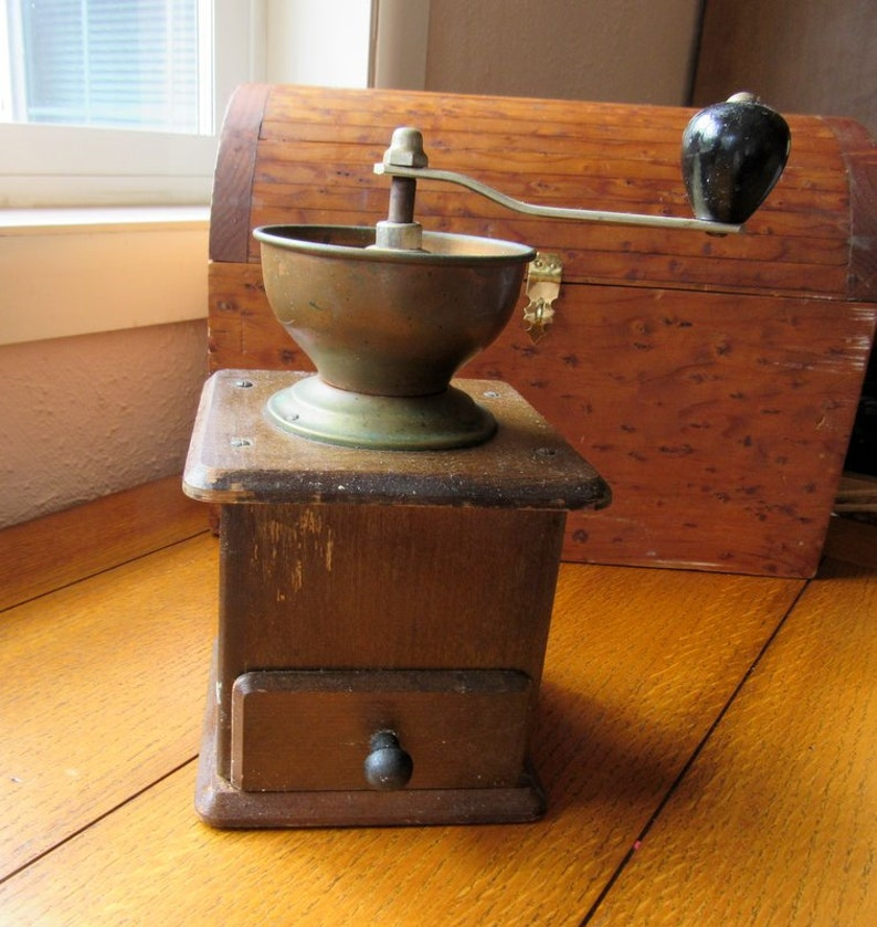 Wood Coffee Grinder Vintage Kitchen Appliance Reenactment image 0