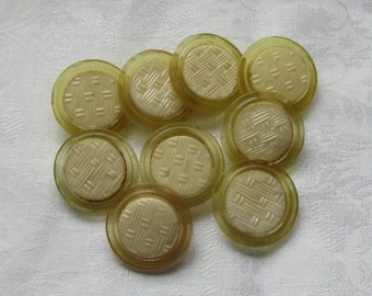 9 Celluloid Basket Weave Buttons Vintage 1920s Yellow Shank Type 25mm or 1 Inch Dress Buttons