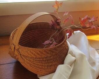 Melon Gathering Basket, Vintage Rustic Woven With Handle, Kitchen, Garden, Farmhouse Decor