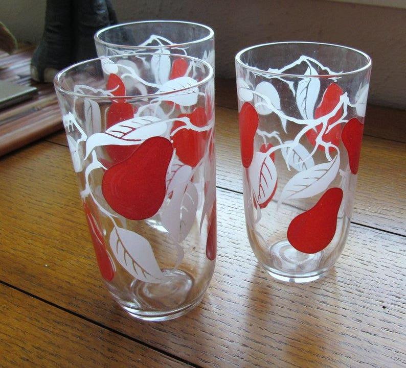 Three Red Pear Swanky Swig Juice Glasses Vintage Farmhouse image 0