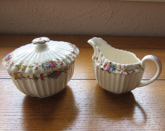 Spode Sugar and Creamer, Hazel Dell Pattern On Chelsea Wicker Vintage Copeland Made In England S 930