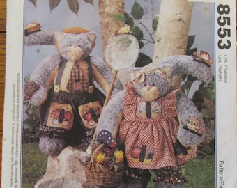 Stuffed and Dressed Cats Vintage McCall's Craft Pattern #8553, Homespun At Heart Designs, Uncut