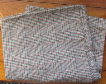 100% Wool Yardage Vintage 80s Plaid, Green, Rust, Gold Fall Colors 2 Yards, 26 Inches By 60 W