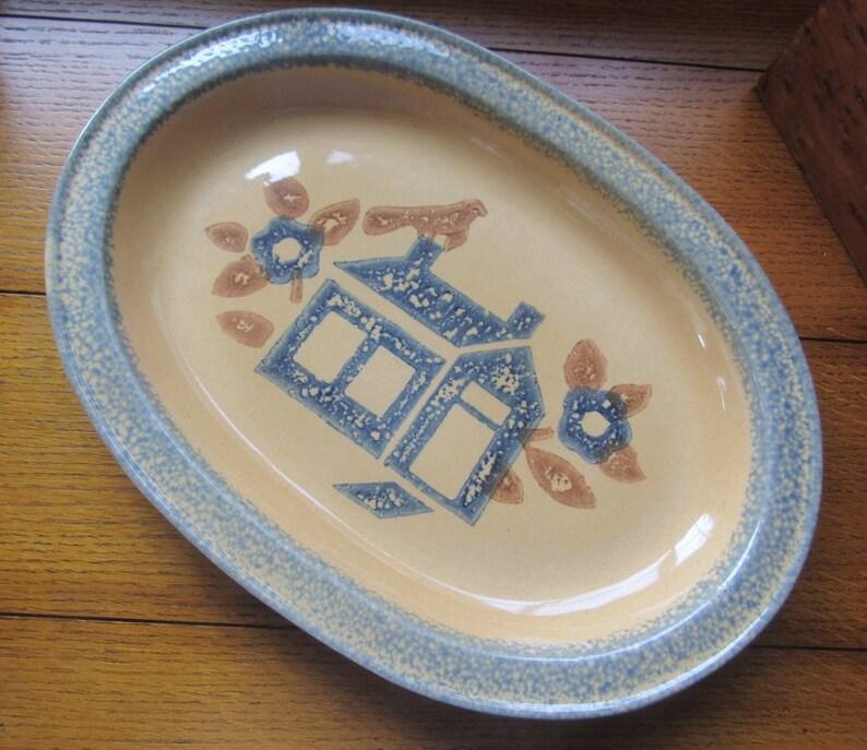 Pfaltzgraff Americana House Platter Vintage Folk Art image 0
