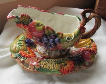 Vintage Fritz and Floyd Autumn Bounty 2 Piece Gravy Boat and Underplate Fall Harvest Decor, Farmhouse Thanksgiving Table With Original Boxes