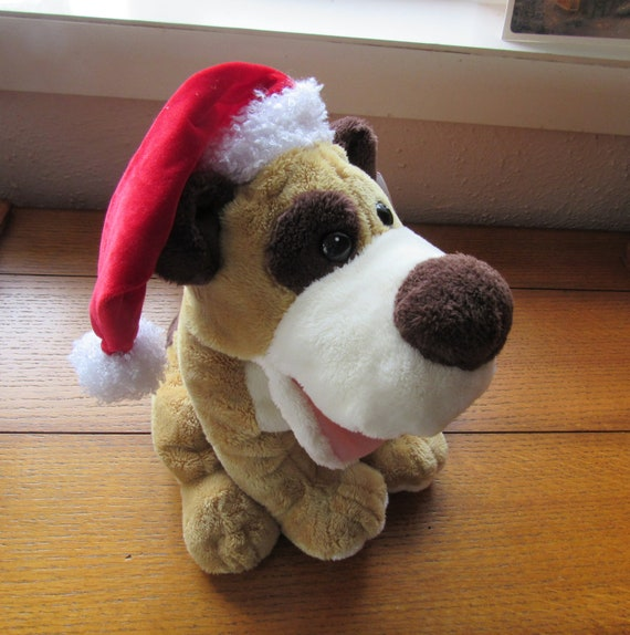This Is Fine Dog Stuffed Animal, Adorable Plush Puppy Hand Puppet That Sings Christmas Songs Etsy