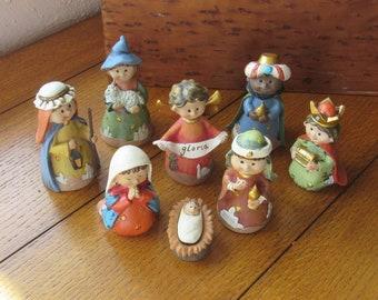Nativity 9 Piece Set, 8 Adorable Juvenile Figurines, Vintage In Original Box, Religious Christmas Scene