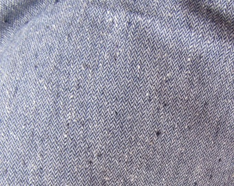 Navy Blue Tweed Wool Vintage Remnant 31 Inches Long By 60 Inches Wide