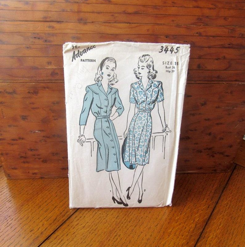 Advance 3445 Sewing Pattern 1940s Vintage Dress 2 Styles image 0