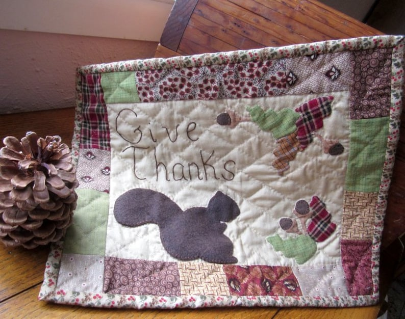 Handmade Small Quilt 'Give Thanks' Wool and Cotton image 0