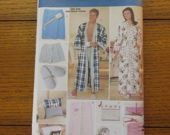 Butterick 5027 Sewing Pattern, Robes, Slippers, Boxers, Hanger Cover, Make-Up Roll, Chair Caddy, Gifts DIY