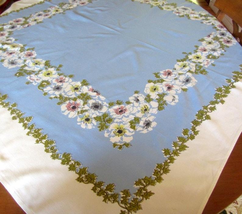 Vintage Kitchen Tablecloth Blue and White Large Flower Border image 0