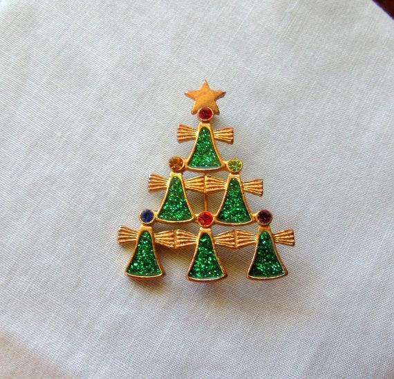 Vintage Holiday BroochChristmas Angel BroochAngel With BellChristmas Jewelry