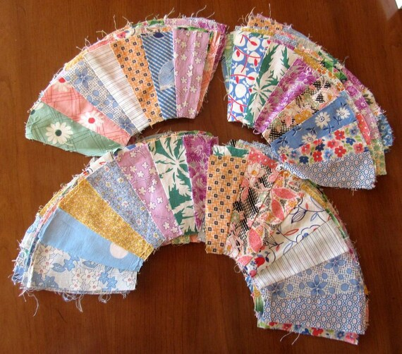 40 Fan Quilt Blocks Pattern Vintage 1930s Cotton Fabric Etsy