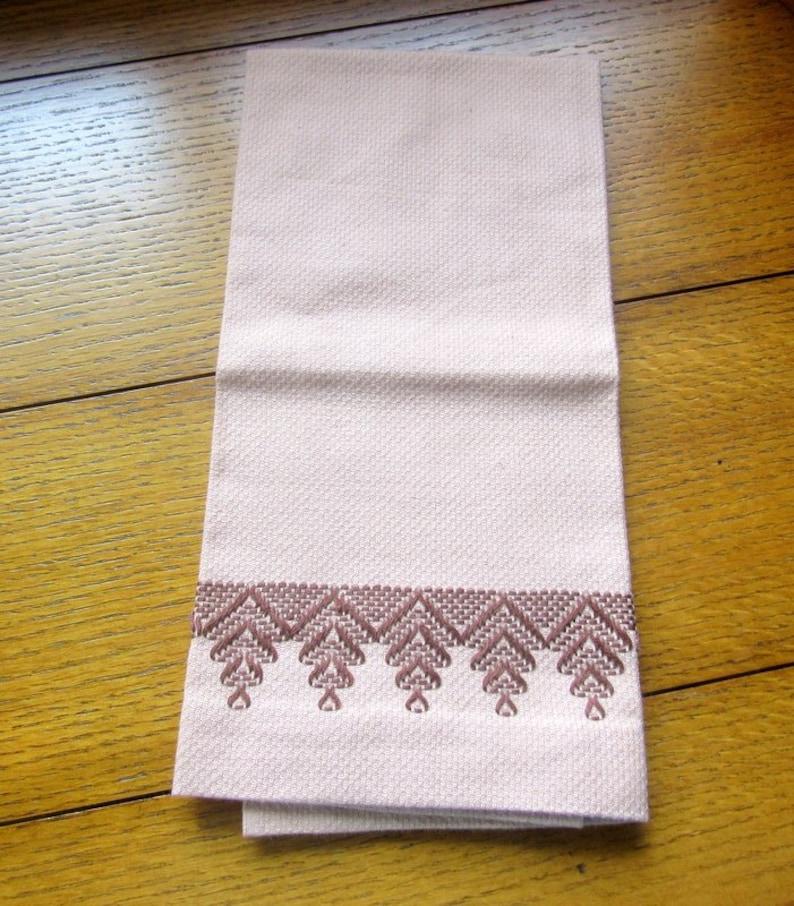 Swedish Woven Hand Embroidered Towel Vintage Huck Hardanger image 0