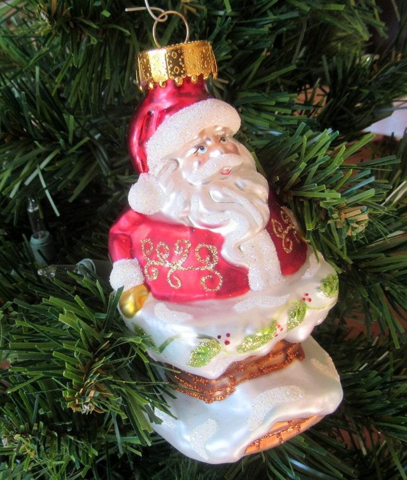 Cute Santa Christmas Tree Ornament Going Down The Chimney image 0