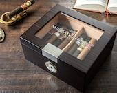 Glass Top Cigar Humidor - Custom engraved humidor box 20-25 Ct.