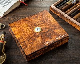 Desktop Cigar Humidor Box, 10-25 Cigars