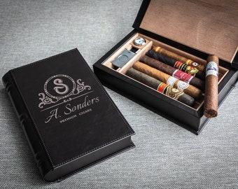 Custom engraved cigar humidor, Book shape travel cigar humidor.