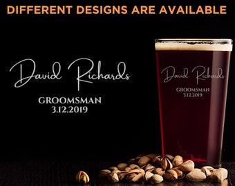 Groomsmen beer glass