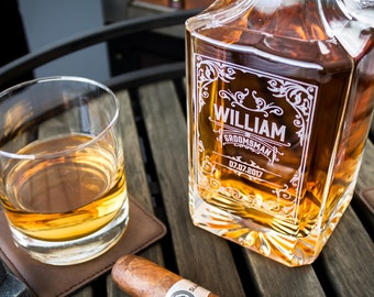 Engraved whiskey decanter with optional whiskey glasses