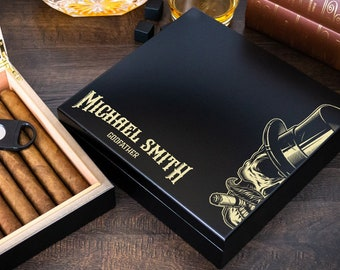 Custom engraved humidor box - Personalized humidor is a great gift for cigar lovers.