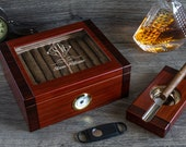 Beveled Glass Top Cigar Humidor - Custom engraved humidor box 50 Ct. 2 Tone Cherry and Rosewood Humidor Set with Ashtray and Cigar Cutter