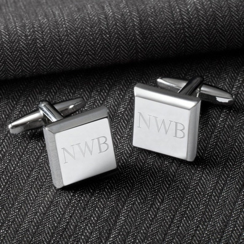 Monogrammed Silver Cufflinks for Dad from Bride in Stainless Steel