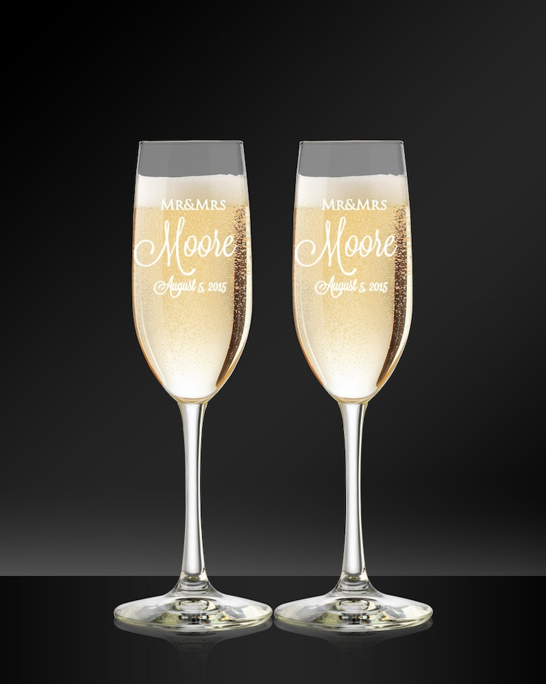 Custom Champagne Flutes  Engraved Wedding Glasses  Bride and image 0
