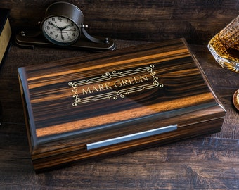 Impressive Cigar Humidor Box with Accessories, High Quality Lacquer Ebony Finish