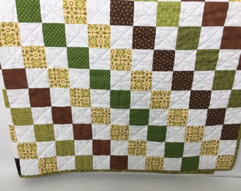 Baby quilt, modern baby quilt, modern baby bedding,  baby blanket, baby bedding, gender neutral baby quilt, green & brown baby quilt