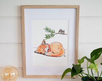 Fox print gender neutral woodland nursery decor woodland animals childrens wall art pen and ink illustration baby fox
