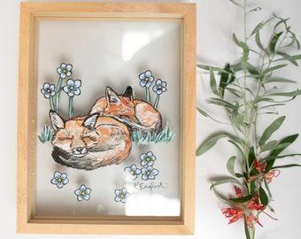Glass painting sleeping fox woodland nursery decor print stained glass panel baby fox
