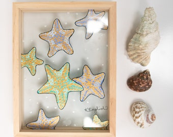 Starfish glass painting sea creature stained glass art ocean art coral reef under the sea