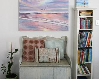 Beach pink sunset wall art original acrylic painting