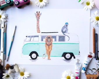 Safari kombi print - childrens wall art - kombi wall art - surf art - childrens illustration - boys bedroom decor - african animals print