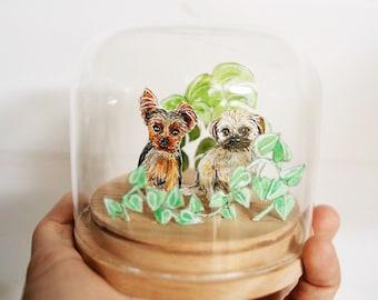 Custom pet portrait watercolour glass dome home.