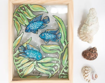 Blue fish glass painting stained sea creature glass art ocean art