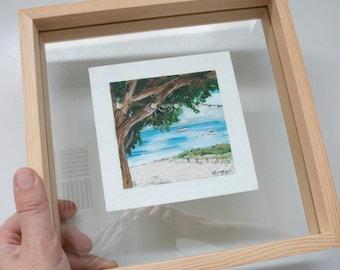 Rottnest beach gouache painting. Boats on the calm sea. Landscape painting.